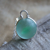 Purist sea glass marble necklace...vibrant green cat's eye sea glass marble necklace, bezel set marble sterling silver chain, gift for her