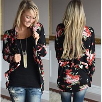 fhotwinter19 hot sale rose flower print long sleeve jacket cardigan
