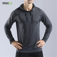 WOSAWE Men Sports Hoodie Reflective Shirt Fitness Running Gym T Shirt Long Quick Dry Gym Clothing Men Training Jogging Sweater