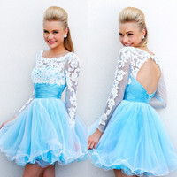 Long Sleeves Backless Short Prom Dress 2015 Blue White Lace Open Back Homecoming Dresses-in Prom Dresses from Apparel & Accessories on Aliexpress.com   Alibaba Group