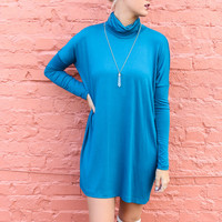 Marble Canyon Teal Turtleneck Tunic Dress