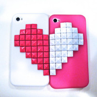 Pink and White Heart Best Friends Studded iPhone Case