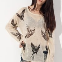 OASAP Semi Sheer Butterfly Print Distressed Sweater 80% off retail