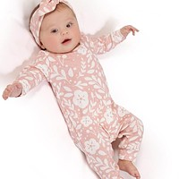 Toddler Newborn Baby Girl Floral Print Home Romper Jumpsuit Outfit Clothes Hot