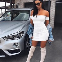 Amina off shoulder bodycon dress