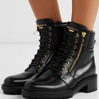 BALMAIN Ranger logo-embellished leather ankle boots