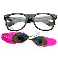 Cute Indie Feather Ear Rings Clear Lens Horned Rim Glasses 8473