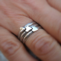 Valentine Heart Sterling Silver Stackable Heart Rings - Set Of Two Rings