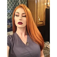 Long Mullet Orange Daily Synthetic Lace Front Wig
