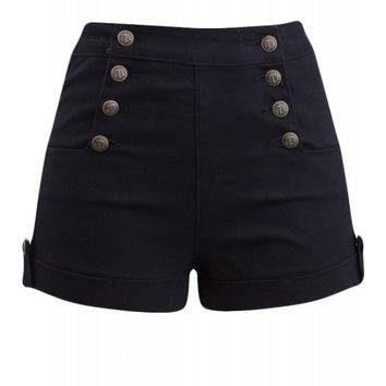 Double Trouble Women's High Waist Sailor Girl Black Denim Shorts with Anchor Buttons