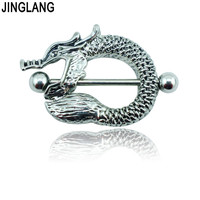 Free Shipping Fashion Nipple Rings Surgical Steel Barbell Vintage Dragon Breast Body Piercing Jewelry