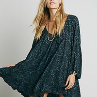 Free People Womens Printed Ruffle Hem Tunic