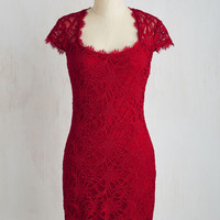 Mid-length Short Sleeves Sheath How Does Sheath Do It? Dress in Ruby