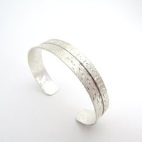 On Sale - Thin Fold Formed Sterling Bracelet, Stamped Silver Cuff Bracelet, Handcrafted Sterling Jewelry