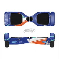 The Blue Vector Fish and Boat Pattern Full-Body Skin Set for the Smart Drifting SuperCharged iiRov HoverBoard
