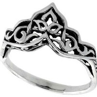 Sterling Silver Celtic Crown Ring 3/8 inch wide, sizes 5 to 12