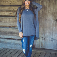 Relaxed Long Sleeve Top in Grey