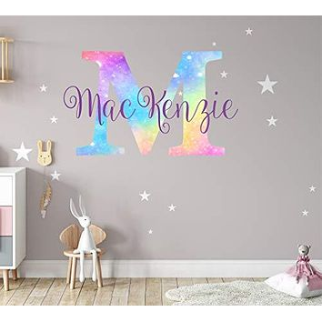 Girls Nursery Shimmer Rainbow Printed Initial and Stars Custom Personalized Name and Initial Vinyl Wall Decal, Decor for Babies Wall Sticker (Small)