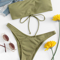 Lace Up High Leg Bikini SetFor Women-romwe