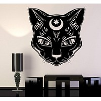 Vinyl Wall Decal Black Cat Moon Witch Magic Witchcraft Stickers Unique Gift (1099ig)