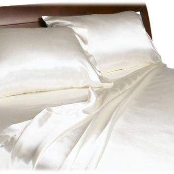 Divatex Home Fashions Royal Opulence Satin King Sheet Set, Ivory