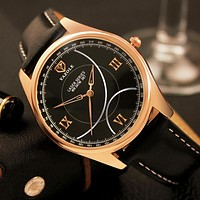 Rose Gold fashion creative watches men quartz-watch unique dial design watch leather wristwatches clock