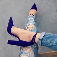 Fashion Women Pointed Strappy Pumps Retro High Thick Heels Shoes Woman Shoes Fema(6 Colors )