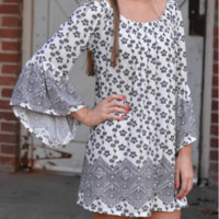 White Gray Holiday Vacation Ethnic Style Summer Beach Dress