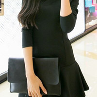 Black Long Sleeve Ruffled Hem Dress