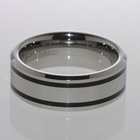 Mens Tungsten Ring 8mm Wide Band Double Black Line