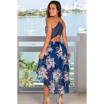 Navy Floral High Low Dress With Lace Back