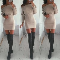 Women's Fashion Winter Hot Sale Batwing Sleeve One Piece Dress [31300059162]