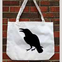tote bag. Raven Silhouette. Cotton Tote. grocery bag. Natural. Market.Organic.reusable. Poe bag. Baltimore Raven.Football Tote. Eco friendly