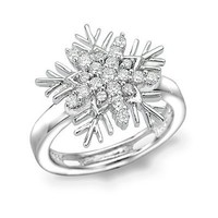 18K/750 White Gold Diamond Accent Christmas Winter Frozen Snowflake Pinky Ring Band (0.22 cttw, G-H color, SI1 Clarity)