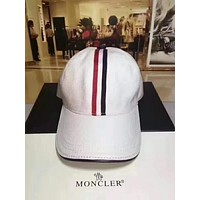 MONCLER autumn new men and women color striped baseball cap F-TMWJ-XDH white