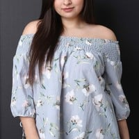 Smocked Off-The-Shoulder Peasant Blouse Top