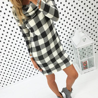 Plaid Print Turtleneck Dress