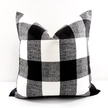 Farmhouse Black Check Pillow Cover