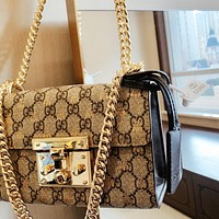 GUCCI High Quality Women Fashion Shopping Bag Leather Metal Chain Crossbody Satchel Shoulder Bag