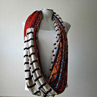 Tribal Chunky Infinity Scarf, Reversible Snood, Knit Fabric Tube Scarf, Extra Wide Bohemian scarf