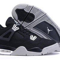 Air Jordan 4 Retro AJ4 Black/Gray Sneaker Shoes US size 8-13