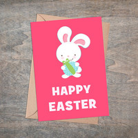 """Happy Easter - Printable Greeting Card, Instant Download, 5x7"""", Cute Easter Gift, White Rabbit, Pink Background, Easter Bunny, Kawaii"""