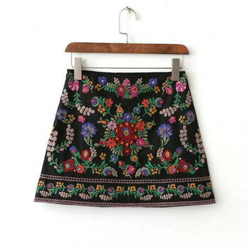 Black Floral Embroidery Mini Skirt