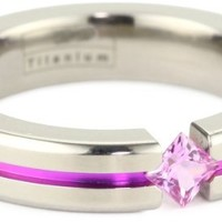 Women's Grey Titanium Princess-Cut Pink Sapphire with Pink Anodized Channel, Size 7