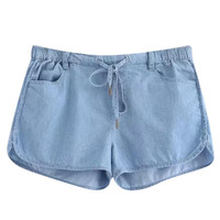 Pocketed Denim Shorts with Drawstring Waist