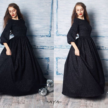 Black maxi cotton jacquard  feminine style party woman evening prom wedding dress