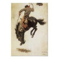 Vintage Cowboy on a Bucking Bronco Horse Posters