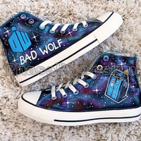Doctor Who Bad Wolf baDWolf Painted Shoes Custom Shoes