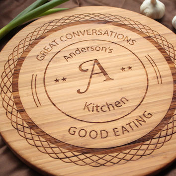 Round Cutting Board - Personalized Bamboo Monogram Serving Board - Bread Board