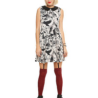 Cream & Black Skeleton Bird Dress